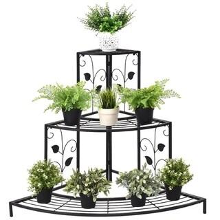 Kaivu 3-tier Black Metal Potted Plant Corner Shelf by Havenside Home