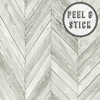 Transform Light Grey Herringbone Wood Peel and Stick Wallpaper