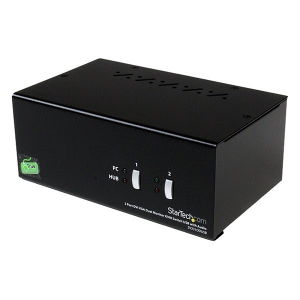 StarTech.com 2 Port DVI VGA Dual Monitor KVM Switch USB with Audio &