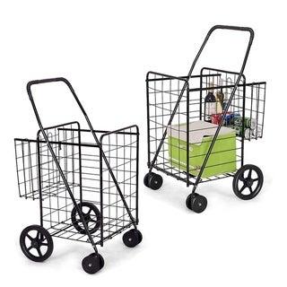 Utility Folding Shopping Cart with Swivel Wheels Easy Storage