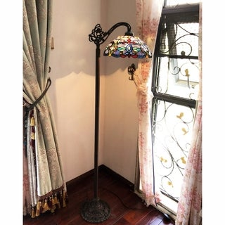 Gracewood Hollow Chopra Tiffany-style Antique Bronze Floor Lamp with Hanging Bowl Shade