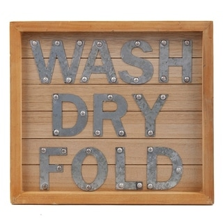 The Gray Barn Laundry Room 'Wash, Dry Fold' Decorative Wooden Door and Wall Sign.