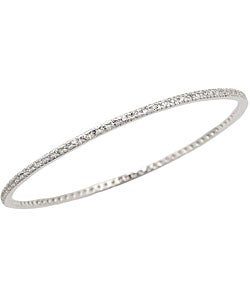 Sterling Essentials Sterling Silver 7-inch Pave CZ Bangle Bracelet