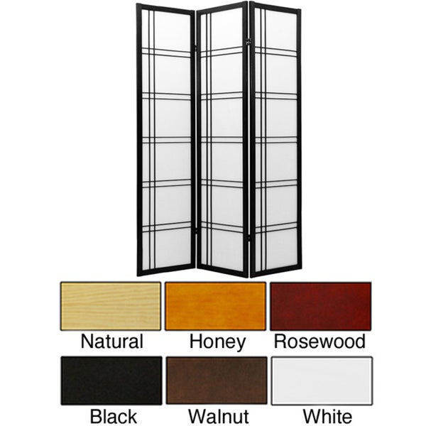 Three-Panel Wood and Rice Paper Double Cross Shoji Screen (China)
