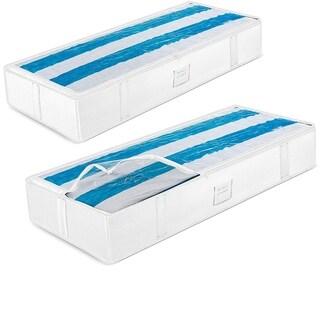 Underbed Storage Bag Organizer (2 Pack) Large Capacity Storage Box, Reinforced Handles, Store Blankets, Comforters Linen Bedding