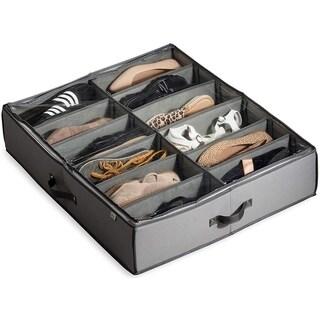 Rigid Underbed Shoe Organizer with Adjustable Dividers (12 Slots/Pairs), Underbed Storage, Underbed Shoe Storage Organizer