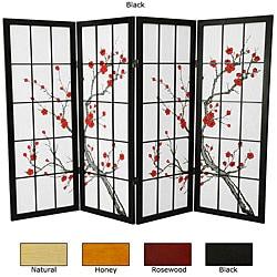Wood and Rice Paper Cherry Blossom Shoji Screen (China)