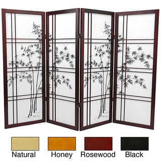 Wood and Rice Paper Bamboo Tree Shoji Screen (China)