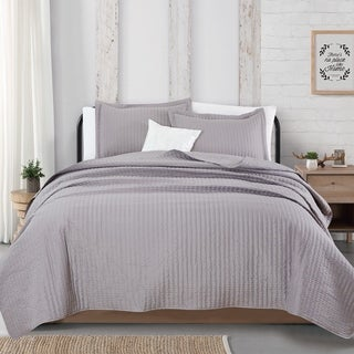 Great Bay Home Alicia Collection 3-Piece Channel Stitch Quilt Set