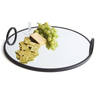 Round Black Mirror Tray