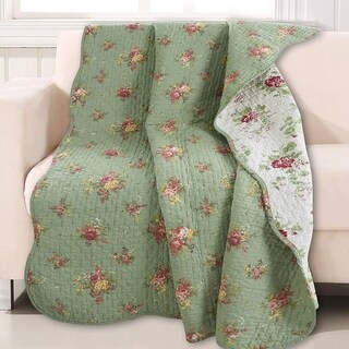 Cozy Line Vintage Floral Quilted Throw Blanket