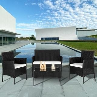 2pcs Arm Chairs 1pc Love Seat & Tempered Glass Coffee Table Rattan Sofa Set Black