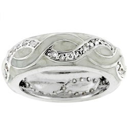 Kate Bissett Silvertone White Enamel Eternity Band