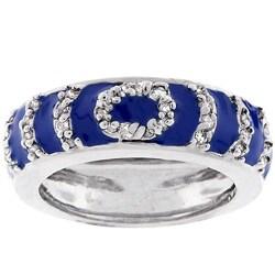 Kate Bissett Silvertone Blue Enamel Circle Fashion Ring