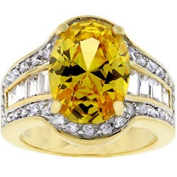 Kate Bissett Goldtone Yellow and Clear Cubic Zirconia Ring