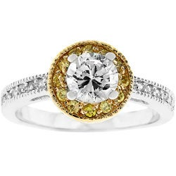 Kate Bissett Two-toned Designer-inspired Pave CZ Ring
