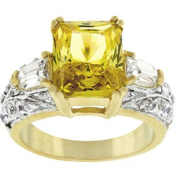 Kate Bissett Goldtone Yellow Radiant-cut CZ Cocktail Ring