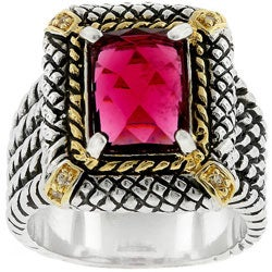 Kate Bissett Two-toned Antique-inspired Pink CZ Ring
