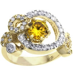 Kate Bissett Goldtone  Fashion Circular Pave CZ Cocktail Ring