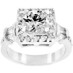 Kate Bissett Silvertone CZ Engagement Ring
