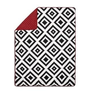 The Peanutshell Red & Black Tie Pompom Blanket.