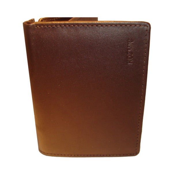Kozmic Dark Brown Leather Tri-fold Wallet