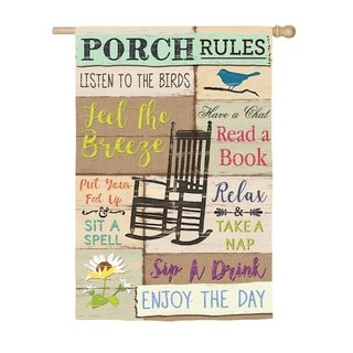 "28"" x 44"" Porch Rules Suede House Flag"