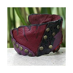 'Violet Rose' Leather Bracelet (Thailand)