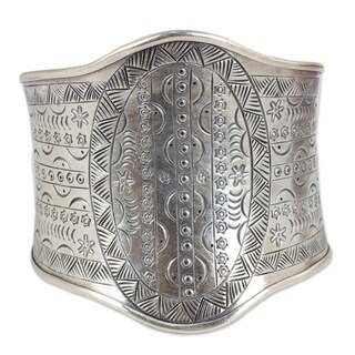 Handmade Sterling Silver Astral Signs White Metal Cuff Bracelet (Thailand)