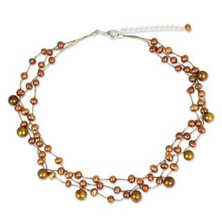 'Cinnamon Glow' Pearl Choker Necklace (Thailand)