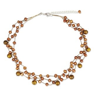 Cinnamon Glow Three Strand Silk Cord with Bronze Dyed Fresh Water Pearls Adjustable Womens Fashion Choker Necklace (Thailand)