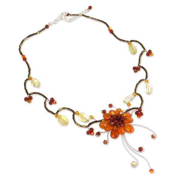 Handmade Stainless Steel Fire Flower Multi Gemstone Adjustable Choker (Thailand)