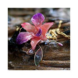 'Charming' Natural Orchid Goldplated Necklace (Thailand)