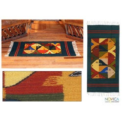 Mexican 'Fish Fiesta' Zapotec Wool Rug (2' x 3'3)