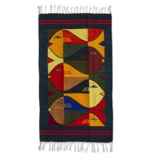 Fish Fiesta Multicolor Eco Friendly Natural Dyes 100% Wool Hand Woven Artisan Contemporary Zapotec Decor Accent Area Rug (2x3)