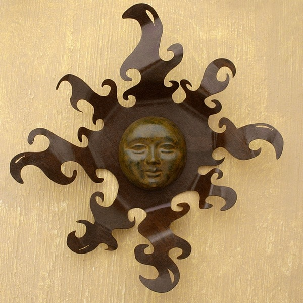 Sumptuos Sun Indoor Outdoor Patio Decorator Accent Rustic Brown Ceramic Sun with Iron Rays Metal Wall Art Sculpture (Mexico)