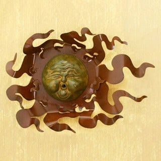 Iron and Ceramic 'Gust of Sun' Wall Adornment, Handmade in , Handmade in Mexico