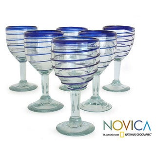 Set of 6 'Tall Cobalt Spiral' Wine Glasses (Mexico)