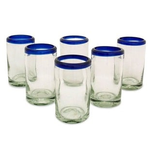 Artisan Crafted Cobalt Drinking Glasses Set 6 (Mexico)