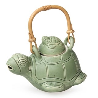 Turtle Mom Handmade Artisan Kitchen Cooking Home Decor Rustic Green Ceramic Natural Rattan Whimsical Gift Teapot (Indonesia)