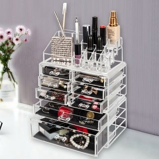 Makeup Organizer 3 Pieces Acrylic Cosmetic Storage Drawers and Jewelry Display Box