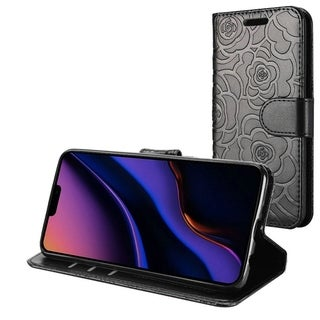 Insten Rose Flip Leather Fabric Cover Case w/stand/card holder/Photo Display For Apple iPhone 11 - Black