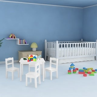 5 Pcs Wood Kids Furniture Set with 1 Craft Table & 4 Kids Chairs White