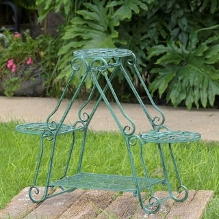 Folding 3 Pot Plant Stand in Verdi Green Finish