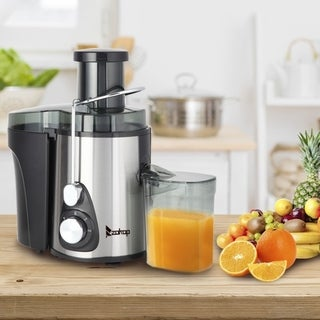 ZOKOP 600W Juicer Machines with 3'' Wide Mouth, Dual Speed Centrifugal Juicer Stainless Steel Easy to Clean