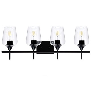 CO-Z Matte Black Vanity Light with Clear Glass Shade