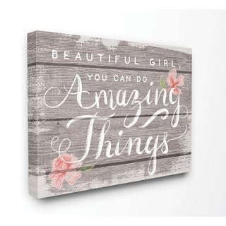 Stupell Industries Beautiful Girl Inspirational Kids Flower Word Design Canvas Wall Art