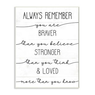 Stupell Industries Braver Stronger Loved Family Inspirational Word Design Wood Wall Art