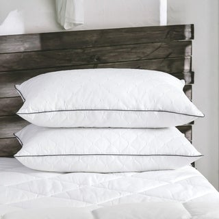 2 Pack Firm Goose Down and Feather Bed Pillows with Embroidered Cover - White