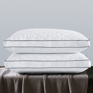 2 Pack Firm Gusseted Goose Down Fill Point Embroidered Bed Pillows - White